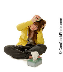 Sick Woman with headache - Sick woman with ice on her...
