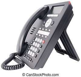 Office IP telephone on white - Modern office IP telephone...
