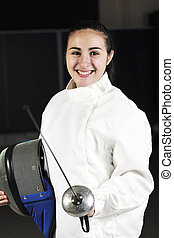 sword sport athlete portrait at training - sword sport young...