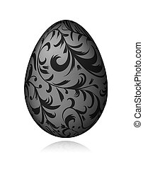 Easter egg black with floral ornament for your design