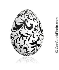 Easter egg with floral ornament for your design - Easter egg...