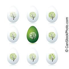 Easter eggs design, art trees