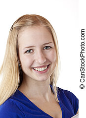 Portrait of young attractive blond woman smiling self confident