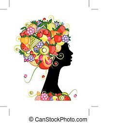 Female profile silhouette, hairstyle with fruits for your...