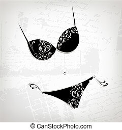 Female bikini, floral ornament for your design