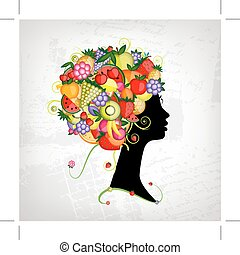 Female profile silhouette, hairstyle with fruits for your design
