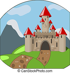 cartoon castleon background with mountains - vector cartoon...