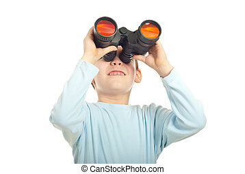 Kid boy looking into binocular isolated on white background