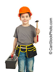 Small constructor kid holding hammer - Small constructor kid...