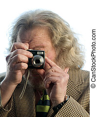 senior man long hair point and shoot camera - middle age...