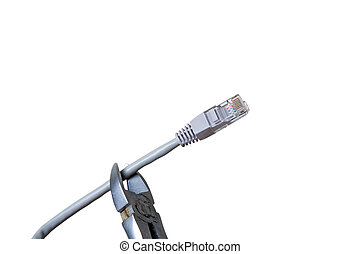 Braking internet cable with pliers