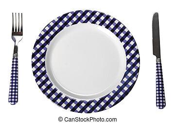 Dinner set plate, fork, knife