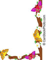 Butterfly on a flowering tree - Multicolored butterflies...