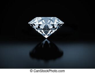 Diamond - Single diamond on black background