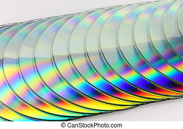 Stack of compact disks - Close up of CDs on white background
