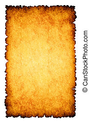 Rough burnt parchment paper background isolated on white