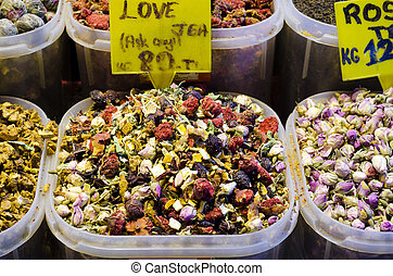 Mixed fruits and flowers tea in Egyptian Spice Bazaar