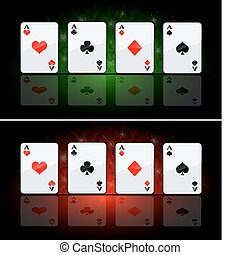 Four ace - Vector set of playing cards Ace