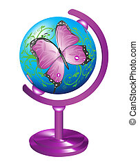 Globe with the image of a butterfly