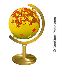 Globe with the image of the autumn