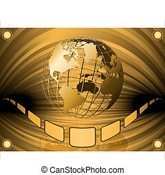 film globe - golden wired earth globe in a large...