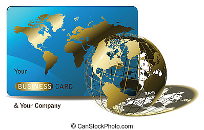 business globe - golden globe and business card for agencies...