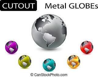 cutout metal globes