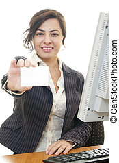 business card woman beautiful caucasian