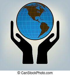 Hands holding the world. EPS 8 vector file included