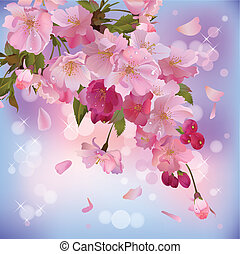 Background with sakura branch - Vector spring background...