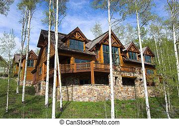 casa, recurso, Montaña