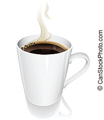 Cup of coffee - Vector illustration of a steaming hot cup of...