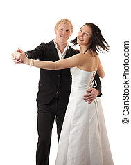 young couple dancing - a young couple dancing isolated on...