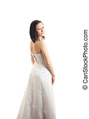 young womand dress back isolated - a young woman in a white...