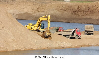 sandpit - loader dump tipper loads of sand