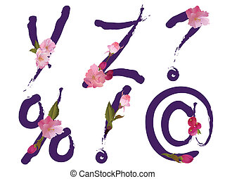 Spring alphabet letters Y,Z,signs - Spring alphabet with...