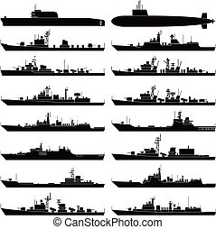 Warship - Vector illustration of various warships