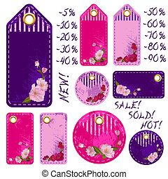 Spring sale tags with flowers