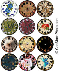 Grunge Clock Watch Faces 12 - Page art elements of vintage...