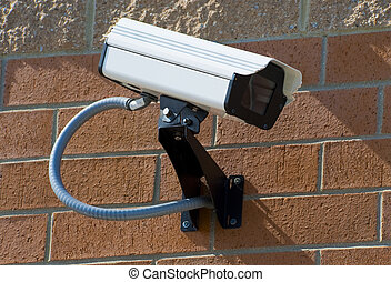セキュリティー, カメラ, 監視