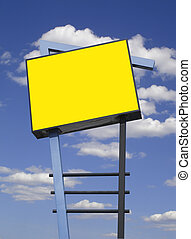 Store advertising sign in yellow over cloudy sky, isolated...