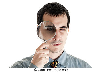 Magnifying Glass - Business man with magnifying glass