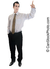 Business man pointing - Isolated young business man pointing