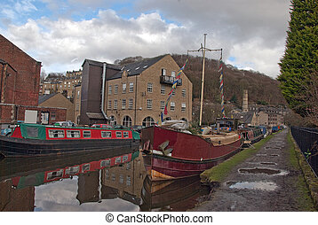 Old Mill and Barges at Hebden Bridge West Yorkshire