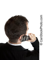 Young man calling - Closeup to youngman talk on phone