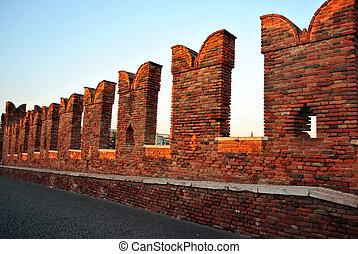 medieval castle - Castel Vecchio in Verona with battlements...