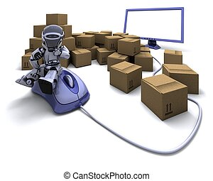 Robot with Shipping Boxes