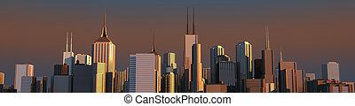 skyline dawn - 3d render of a skyline at dawn
