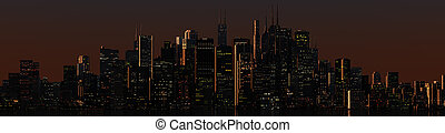 skyline dusk - 3d render of a skyline at dusk
