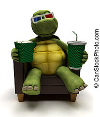 Tortoise relexing in armchair drinking a soda watching a 3D...